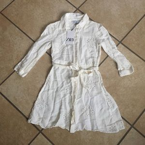 NWT Zara cream white long sleeve dress